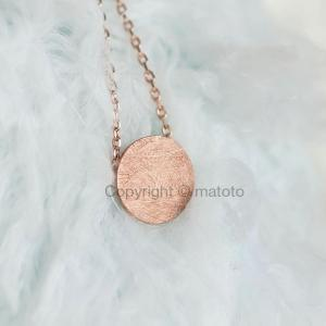 Pink Gold Disc Necklace, Circle Tex..