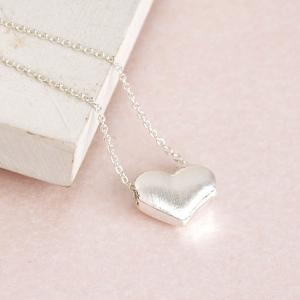 Silver Puffy Hearts Charm Necklace,..