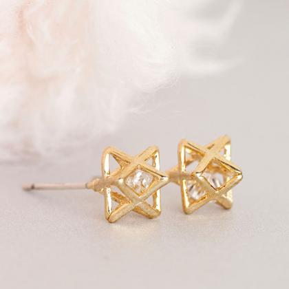 Star CZ Stud Earrings, Gold or Silv..