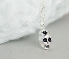 Silver Skull Necklace, Skeleton Necklace, Sugar Skull Necklace, Pirate Necklace
