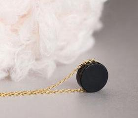 Black Onyx Necklace, Round Flat Onyx Coin Charm Necklace