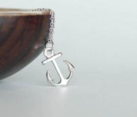 Silver Anchor Necklace, Ahoy Nautical Charm Jewelry