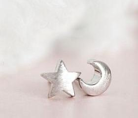 Silver Moon Star Stud Earrings, Crescent Moon Star Whimsical Jewelry