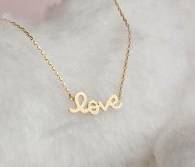 Gold LOVE Necklace, Love Charm Necklace, Sideways Love Necklace, Friendship Necklace