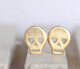 Gold Skull Stud Earrings, Skeleton Sugar Skull Ear Posts, Creepy Cute