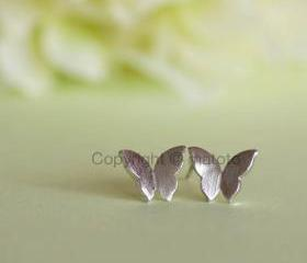 Silver Butterfly Earrings, Tiny Butterfly Stud earrings, Butterfly Wings Posts