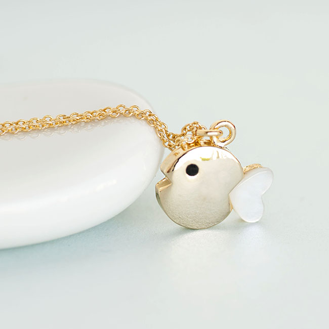 Gold fish necklace tiny chubby fish charm with mother of for Gold fish pendant