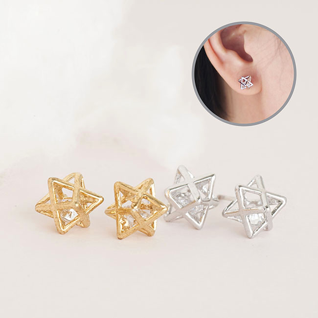 Star CZ Stud Earrings, Gold or Silver, 3D Three Dimensional Star Frame Earrings