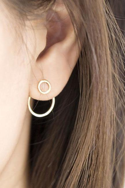 Tiny Double Hoop Ring Front Stud Circle Hoop Ring Ear Jacket Earrings, Silver / Gold, Double Hoop Geometric Jewelry, Bridesmaid Girlfriend Gift