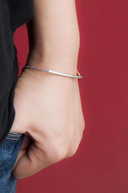 Silver Bar Bracelet, Slim Curved Sideways Tube Bar Bracelet, Minimalist