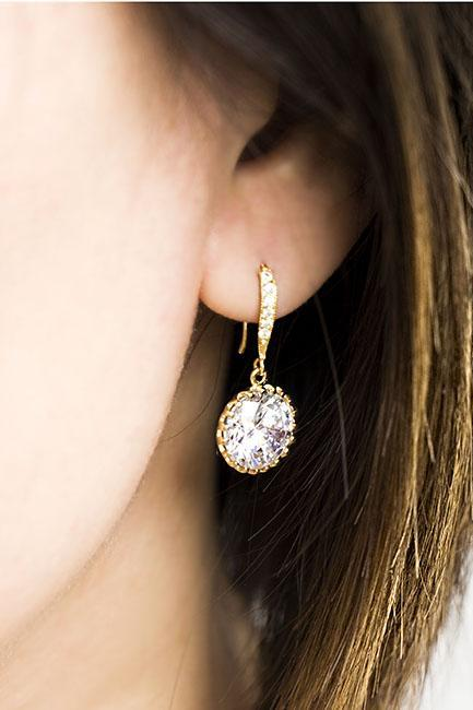 Large Sparkling Faceted Cubic Zirconia Drop Dangle Earrings, Gold / Silver, Wedding Bridesmaid Jewelry