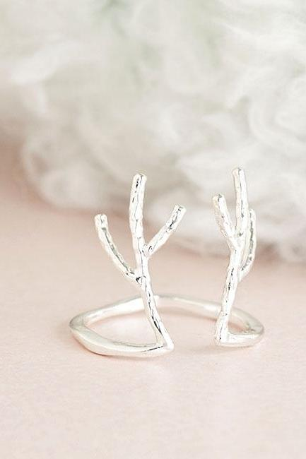 Silver Antler Deer Antelope Horn Ring, Whimsical Animal Jewelry, Adjustable Ring Size