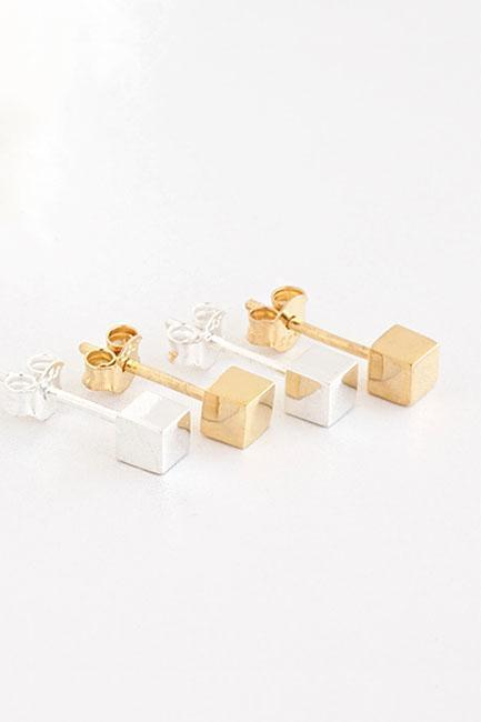 Sterling Silver / Gold Vermeil Tiny Cube Stud Earrings, Geometric Minimalist Inspired