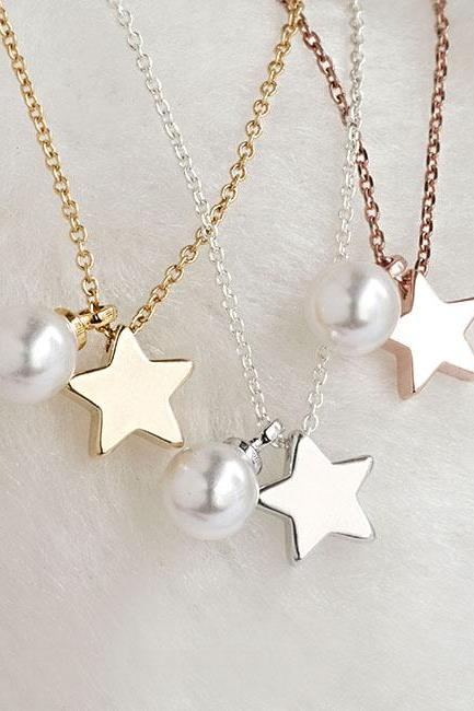 Tiny Star Pearl Necklace, Silver / Gold / Pink Gold, Whimisical Wedding Bridal Bridesmaid Gift