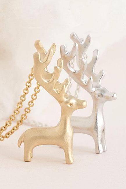 Tiny Deer Antelope Antler Necklace, Gold / Silver, Animal Jewelry