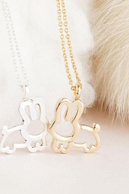 Rabbit Bunny Charm Necklace, Gold / Silver, Animal Jewelry