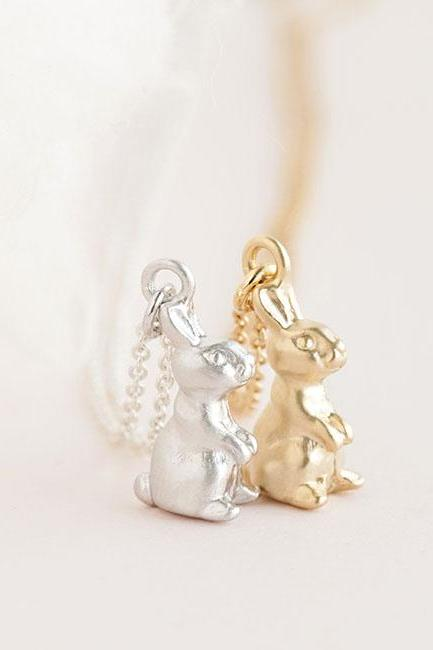 Tiny Baby Rabbit Necklace, Gold / Silver, Bunny Animal Jewelry