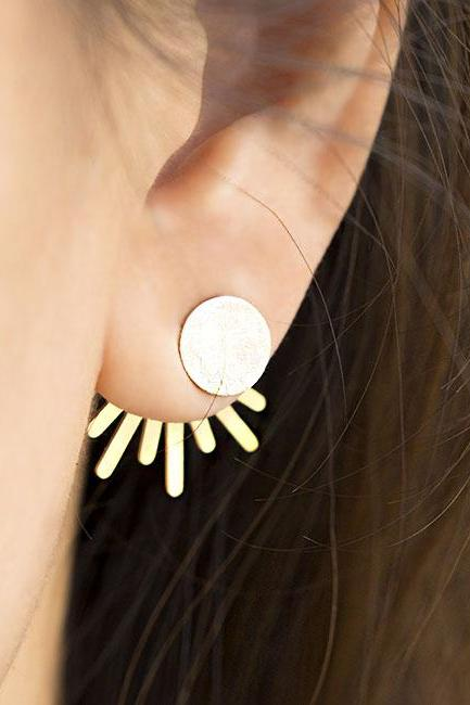 Gold Disc Sun Ray Star Burst Spikey Spiky Front Back Ear Jacket Earrings, Whimsical Astronomy Jewelry