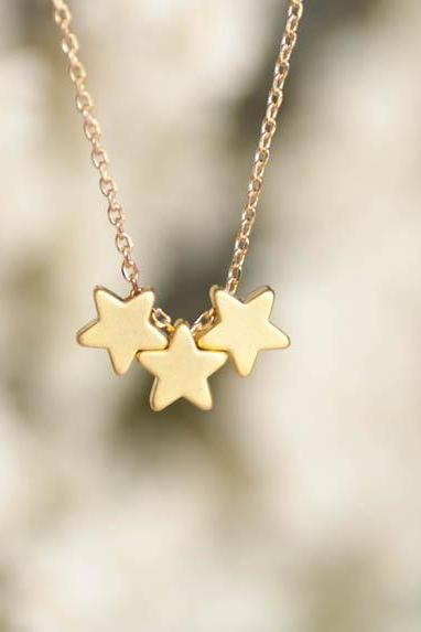 Tiny Gold Star Necklace, Tristar Three Wishes Charm Whimsical Necklace