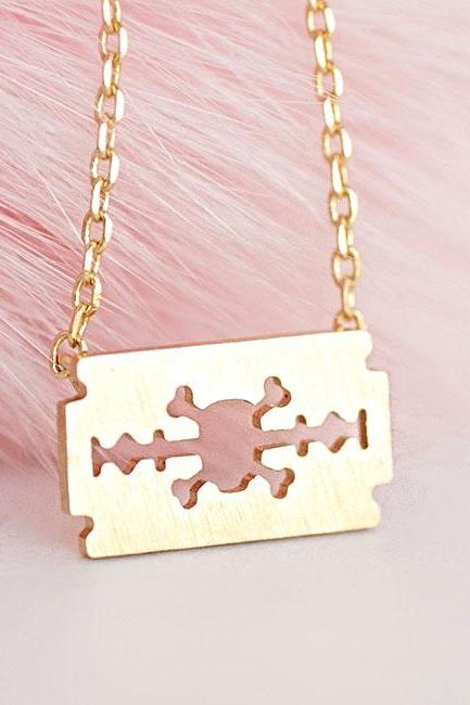 Tiny Gold Skull Crossbone Die Cut Razor Blade Charm Necklace, Whimsical Pirate Inspired