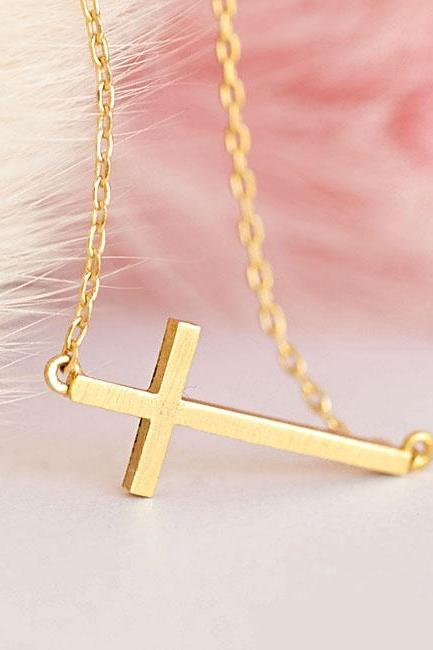 Tiny Sideways Cross Necklace, Minimalist Slim Delicate Cross Jewelry, Celebrity Inspired