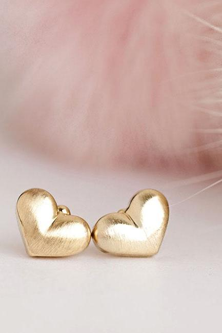 Gold Heart Stud Earrings, Jewelry