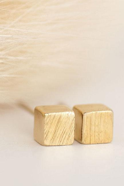 Gold Tiny Square Cube Stud Earrings, Minimalist Jewelry