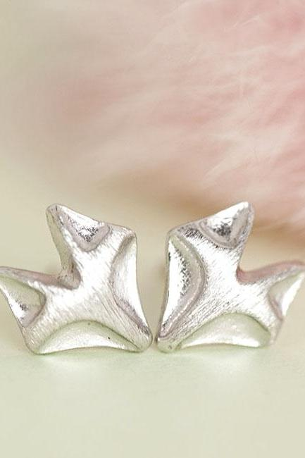 Tiny Silver Fox Stud Earrings, Whimsical Animal Jewelry