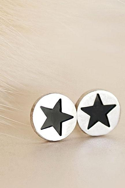 Black Star Silver Disc Stud Earrings, Minimalist Jewelry