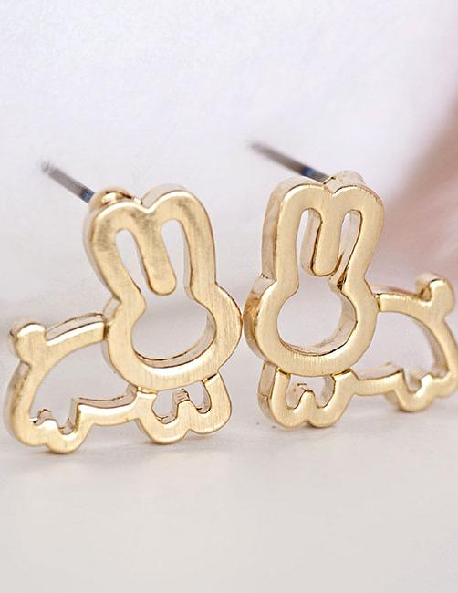 Gold Bunny Stud Earrings, Rabbit Animal Zoology Inspired Jewelry
