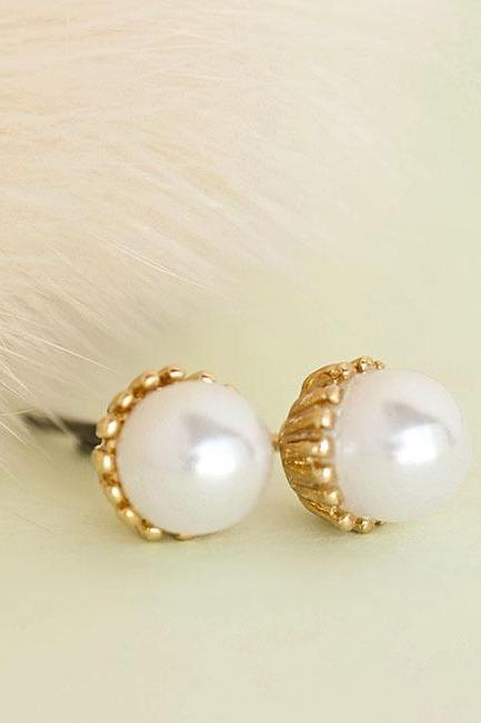 Gold White Pearl Stud Earrings, Bridesmaid Wedding Jewelry