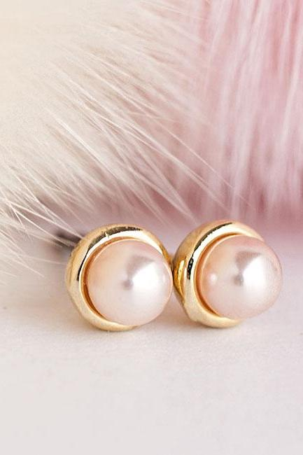 Tiny Gold Pink Pearl Stud Earrings, Bridesmaid Wedding Jewelry