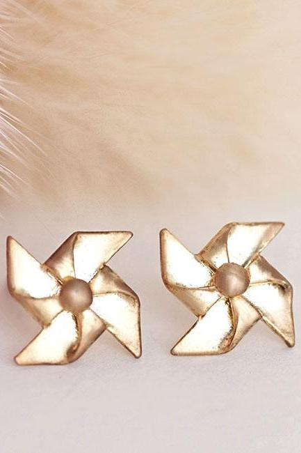 Gold Origami Style Pinwheel Stud Earrings, Paper Windmill Ear Post