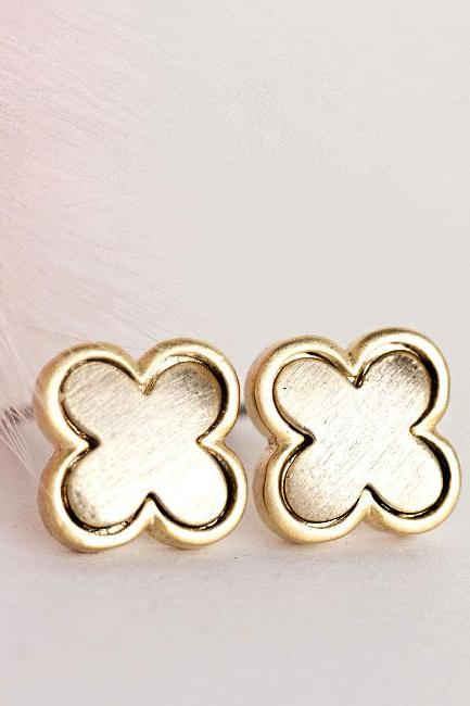 Gold Clover Stud Earrings, Geometric Minimalist Jewelry