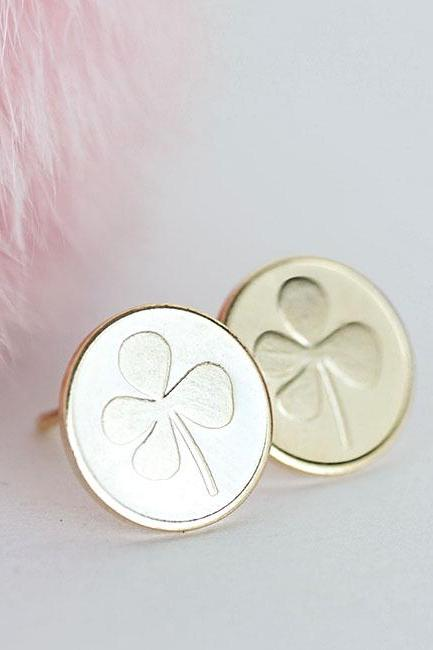 Gold Clover Disc Stud Earrings, Lucky Friendship Jewelry