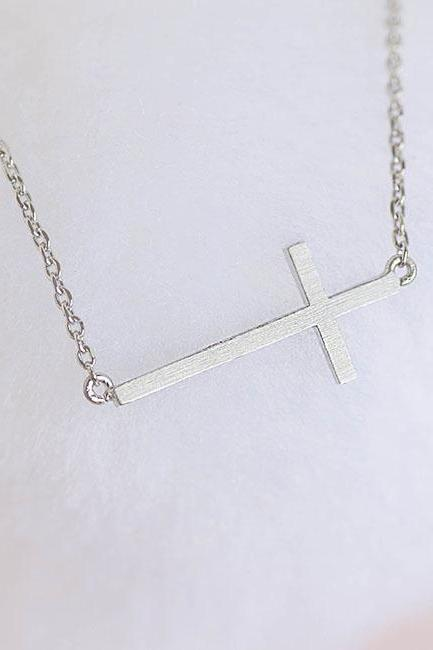 Silver Sideways Cross Necklace, Cross Charm Minimalist Jewelry