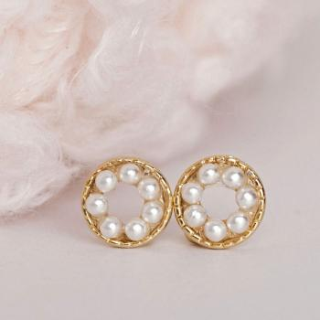 Pearl Pave Earrings, Tiny White Pearl Bead Circle Earrings, Minimalist
