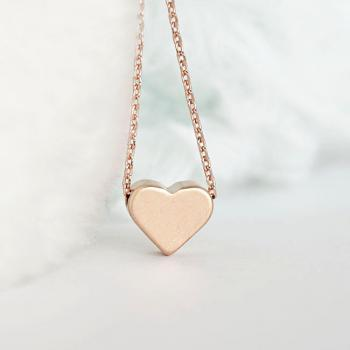 Pink gold heart charm necklace sweet love minimalist for Women s minimalist jewelry
