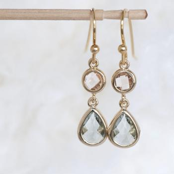 Champagne Charcoal Grey Drop Dangle Earrings, Cocktail Gala Wedding Jewelry