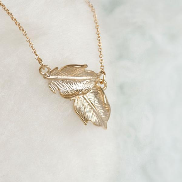 Gold Leaf Necklace, Double Leaves Charm, Bridesmaid Jewelry